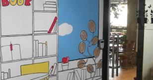 담쟁이 책놀이터에 예쁜 책꽂이 그림을 그렸습니다.